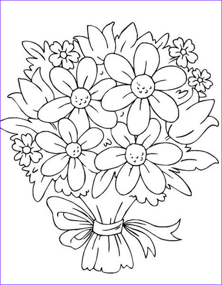 Flower Coloring Pages for Adults New Stock Bouquet Flowers Coloring Pages