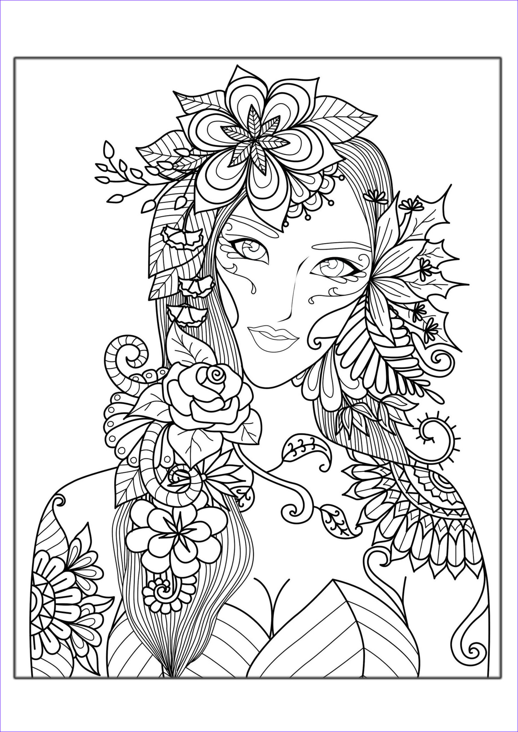 image=anti stress coloring page adults woman flowers 1