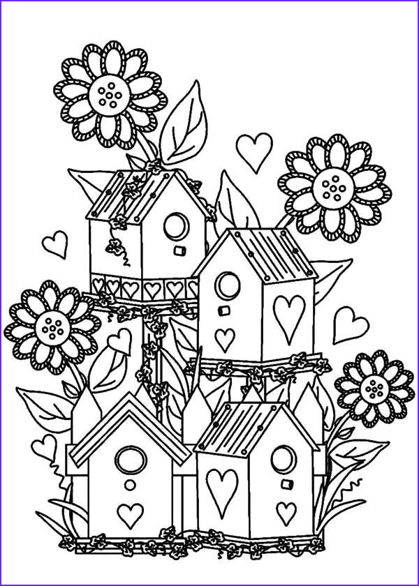 Flower Garden Coloring Pages Beautiful Gallery Bird House Bird House at Flower Garden Coloring Pages