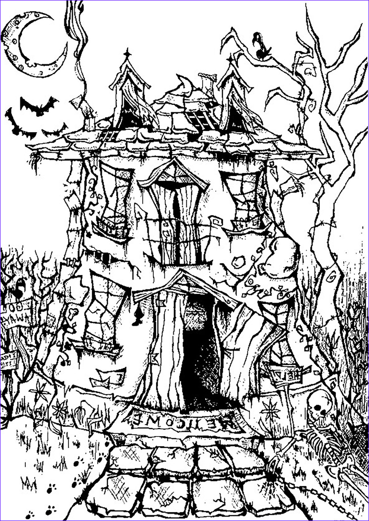 halloween adult coloring pages image=events halloween coloring adult halloween haunted house 1