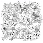 Free Adult Halloween Coloring Pages Cool Collection Halloween Witch With Pumpkins Halloween Adult Coloring Pages