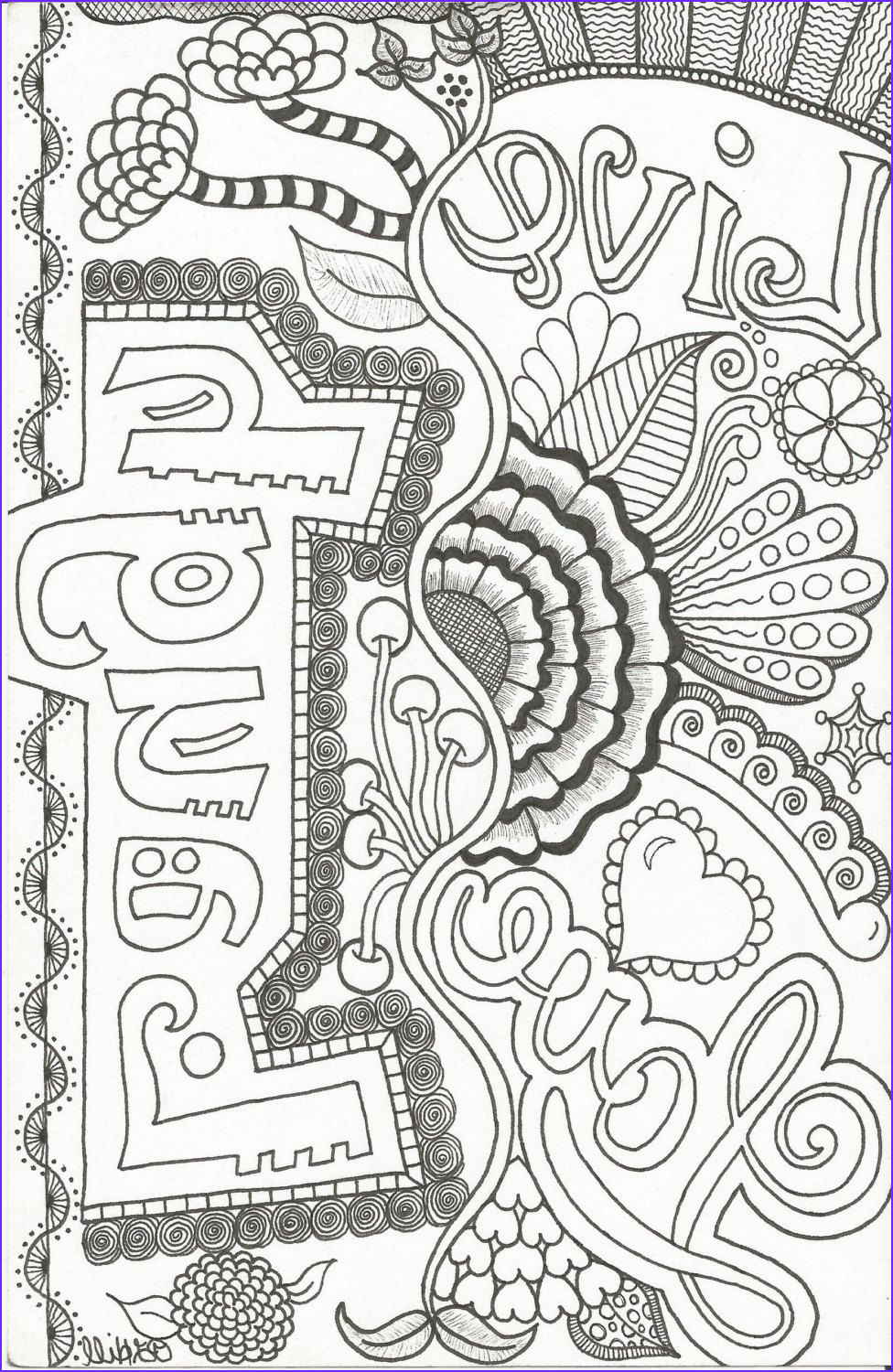 Free Coloring Book Pages for Adults Best Of Images Live Love Laugh Doodle by Plhill