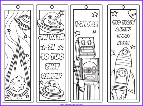 Free Coloring Bookmarks Unique Images Free Printable Color Your Own Space Bookmarks and Reading