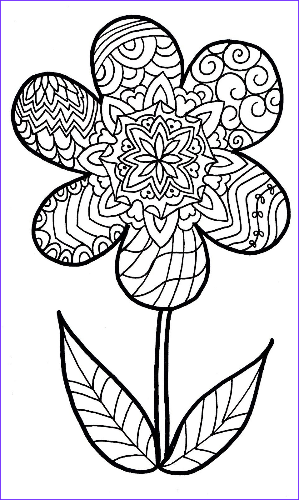 Free Coloring Pages for Adults Flowers New Photography Flower Zentangle Colouring Page 957×1600
