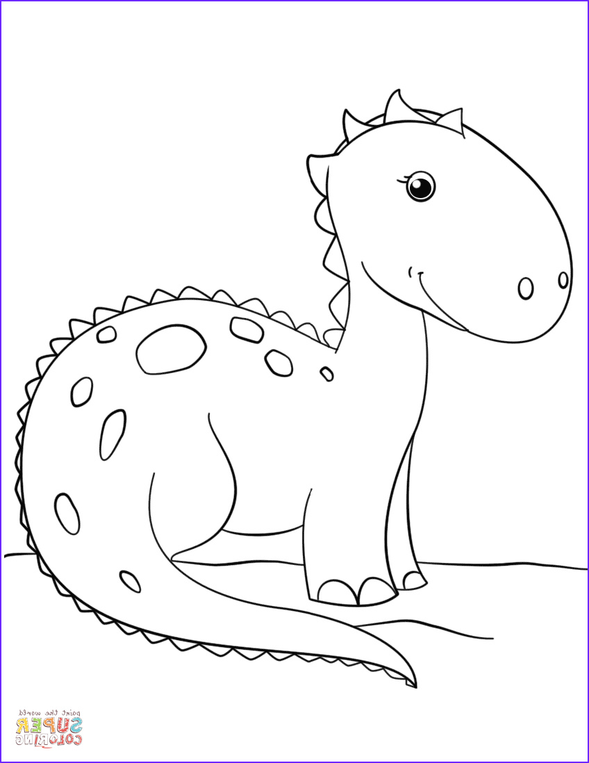 Free Dinosaur Coloring Pages Inspirational Photos Cute Cartoon Dinosaur Coloring Page