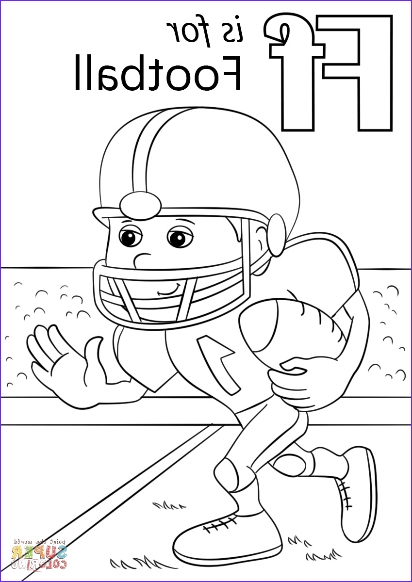 Free Football Coloring Pages Awesome Photos Letter F is for Football Super Coloring