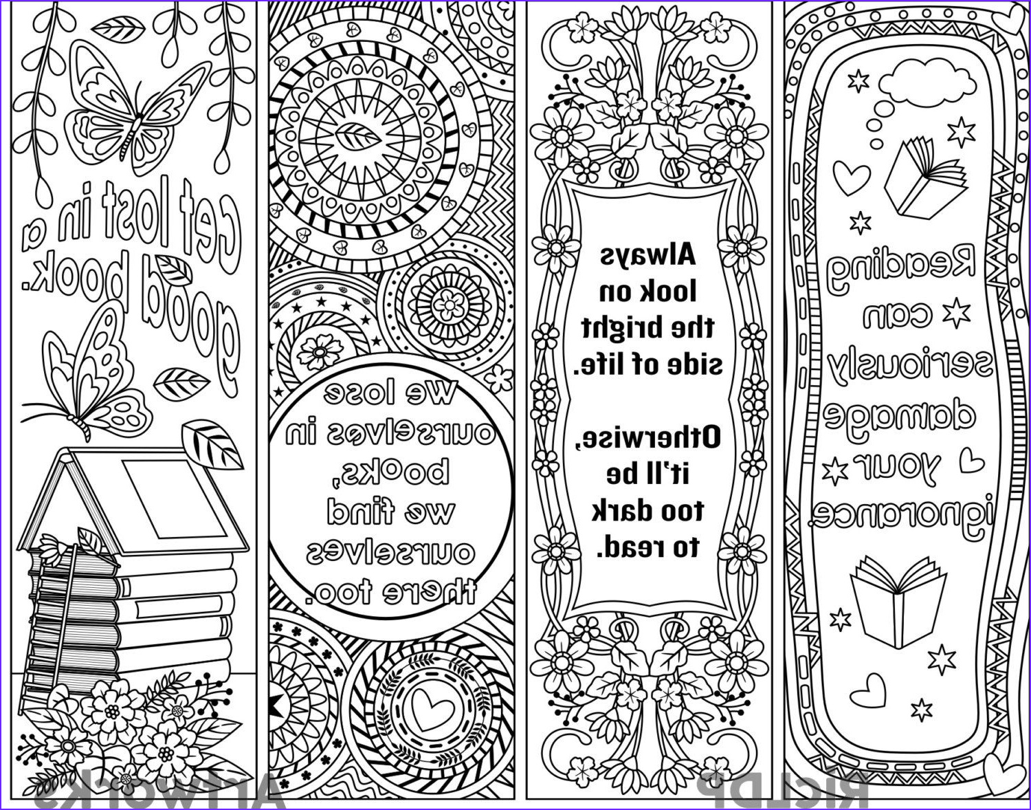 Free Printable Coloring Bookmarks Beautiful Image Set Of 4 Coloring Bookmarks with Quotes Plus the Colored