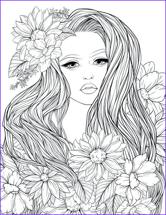 Free Printable Coloring Books for Adults Luxury Photos Adult Coloring Page Lady Flowers Digital Coloring Page