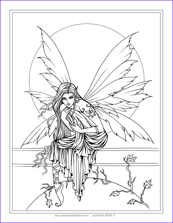 Free Printable Coloring Pages for Adults Fairies Unique Image Free Fairy Coloring Page by Molly Harrison Fantasy Art