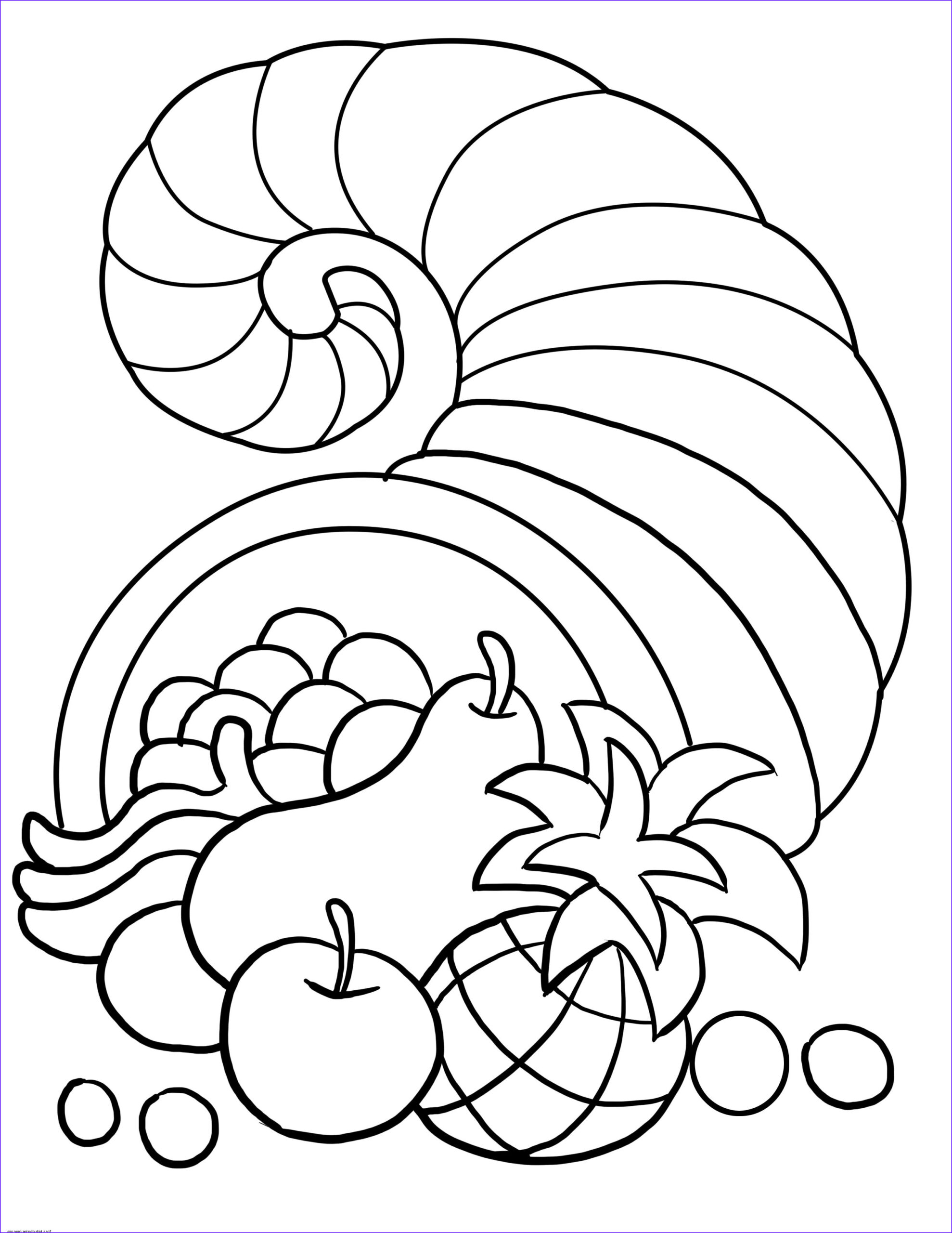 Free Printable Coloring Pages for toddlers Elegant Collection Thanksgiving Cornucopia Coloring Sheet for Kidsfree