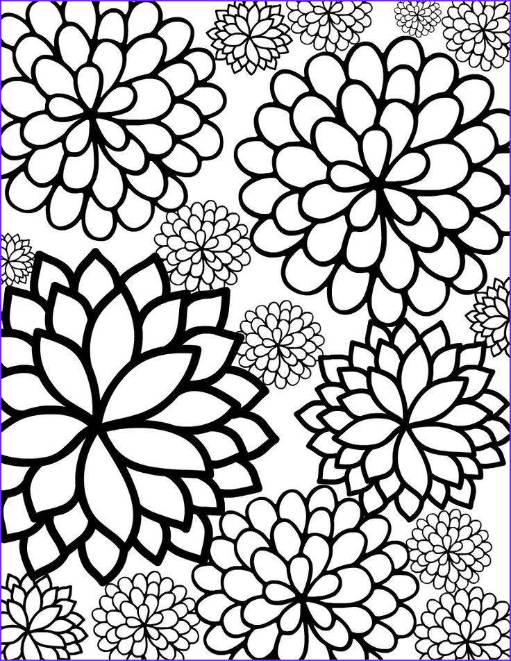 Free Printable Flower Coloring Pages for Adults Beautiful Stock Bursting Blossoms Flower Coloring Page