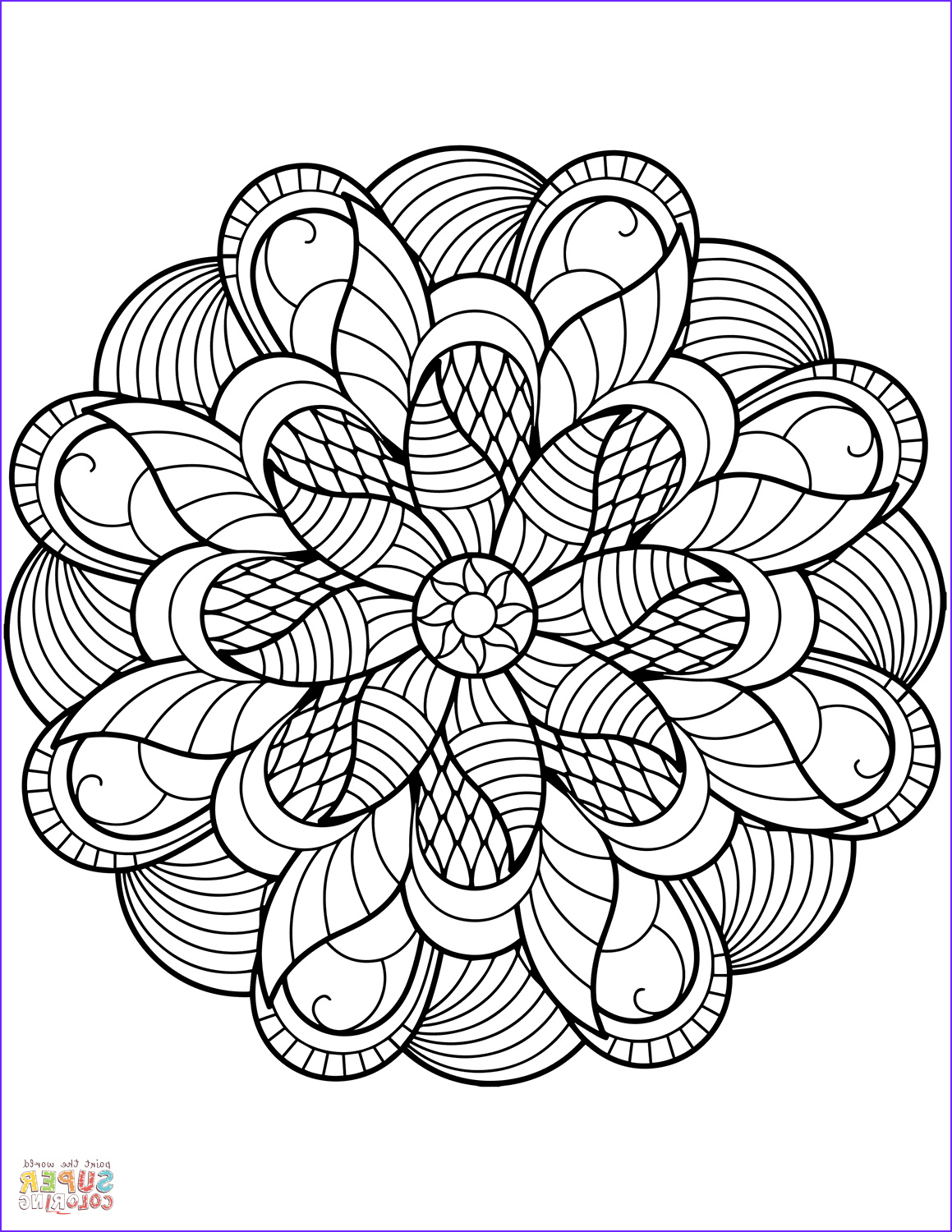 Free Printable Mandalas Coloring Pages Adults Best Of Collection Flower Mandala Coloring Page