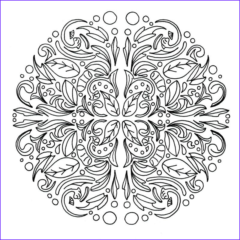 Swirling Leaves Relaxing Mandala Adult Coloring Page
