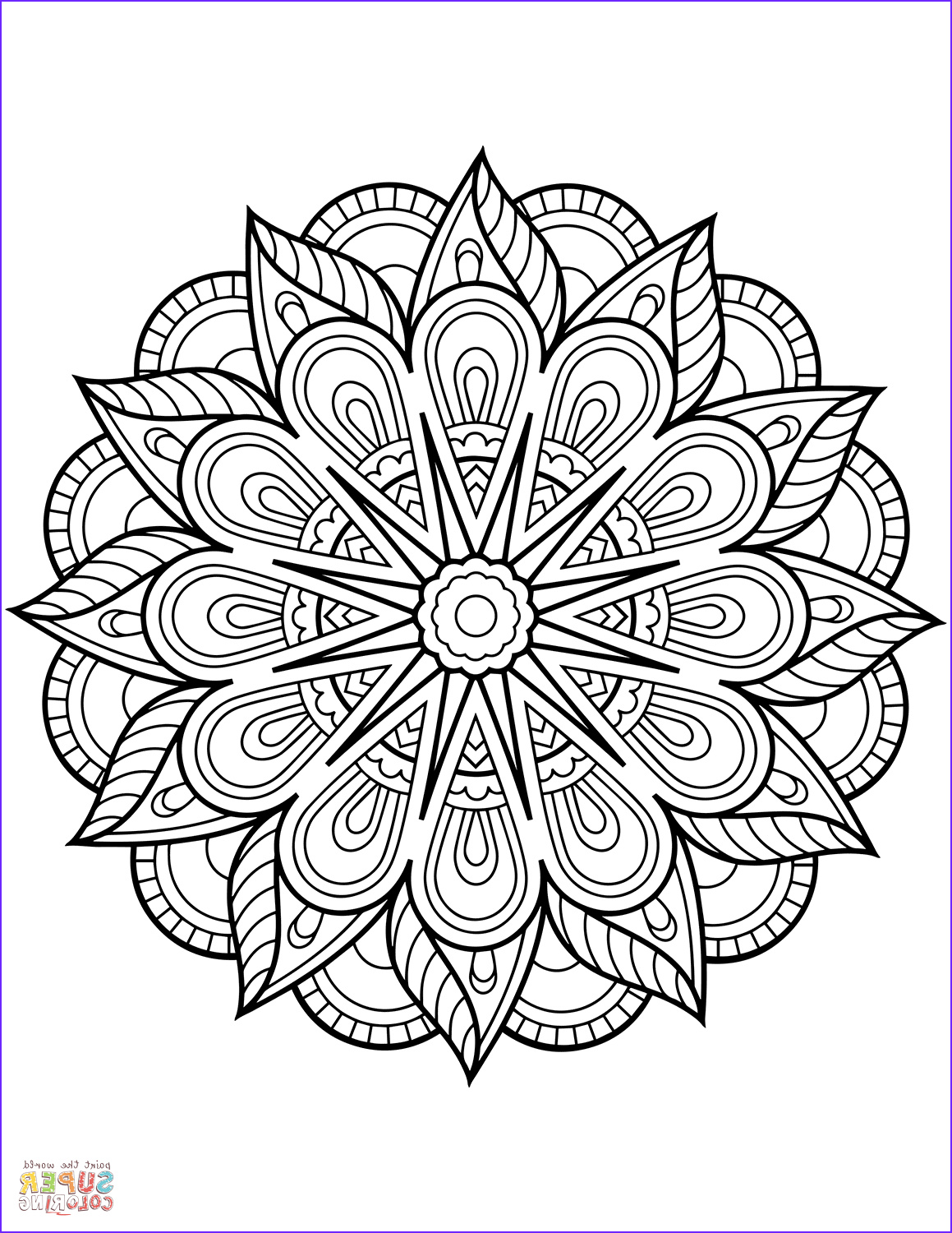 Free Printable Mandalas Coloring Pages Adults Unique Gallery Flower Mandala Coloring Page