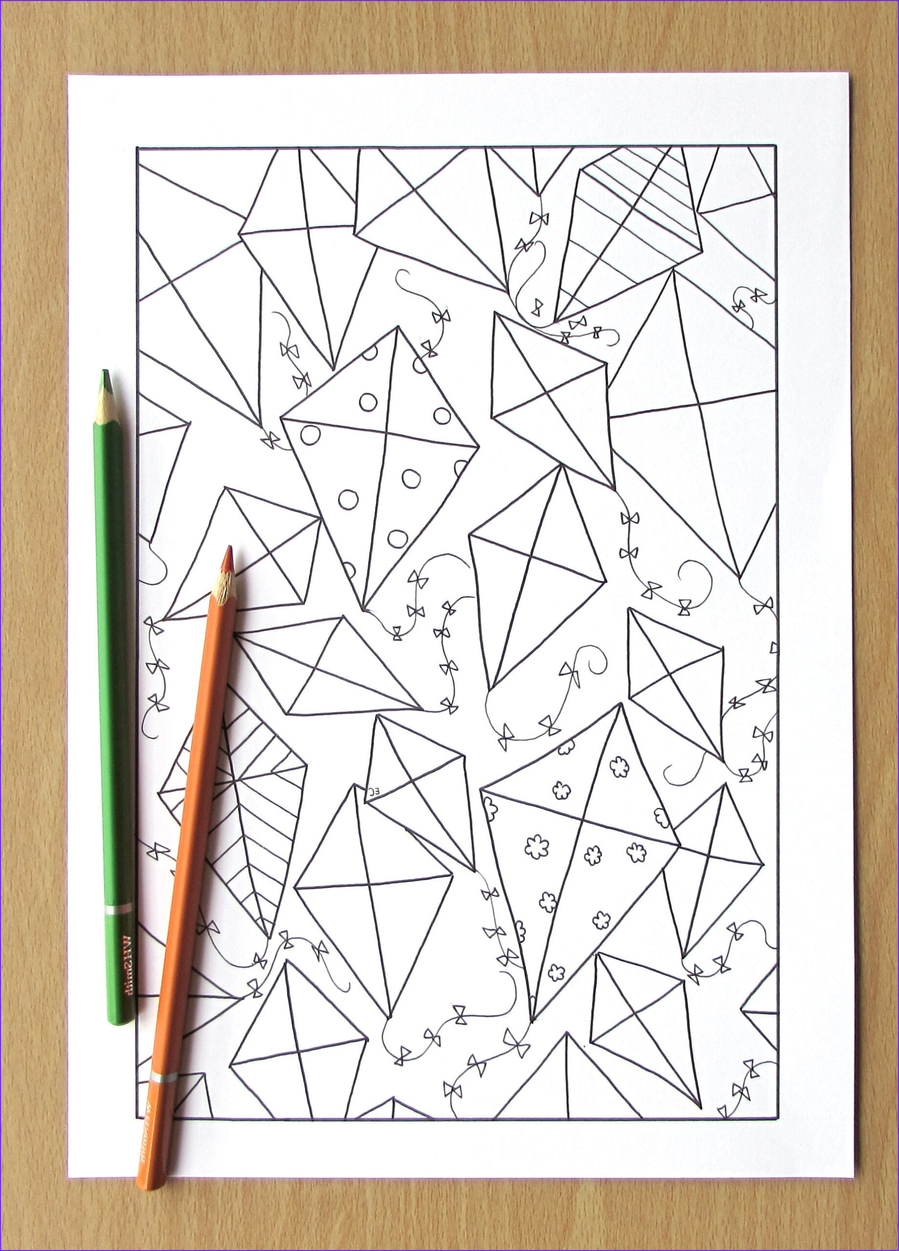 geometric kites adult coloring page
