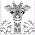 Giraffe Coloring Page Beautiful Photos Giraffe Head With Leaves Giraffes Adult Coloring Pages