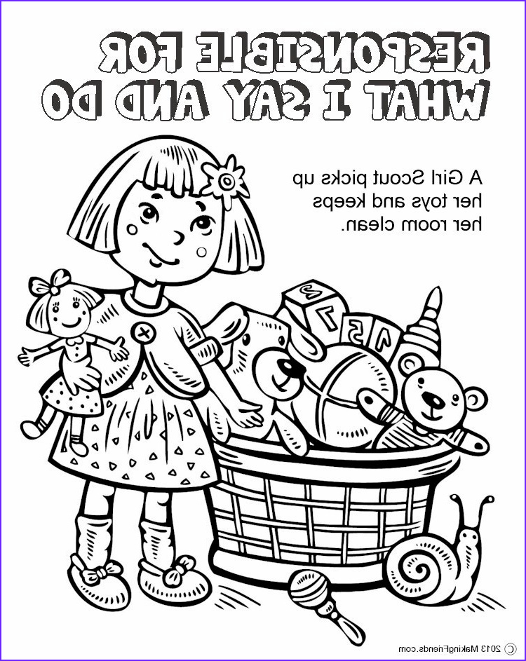 Girl Scout Coloring Pages Cool Stock The Law Responsible For What I Say And Do Coloring Page