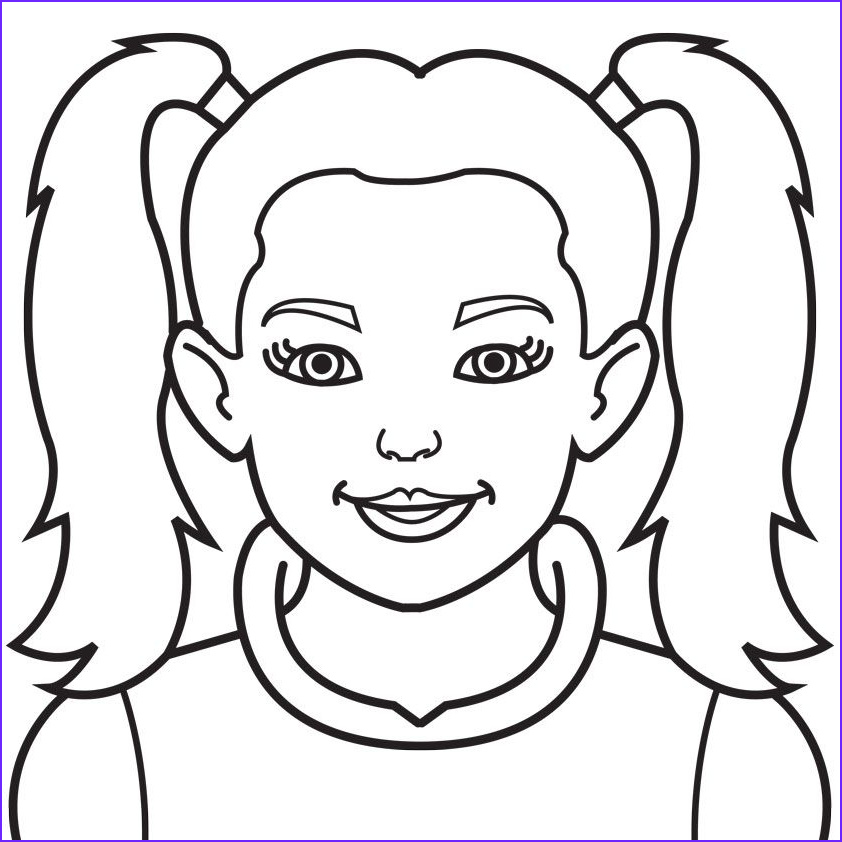 girl face coloring page