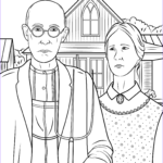 Gothic Coloring Book Inspirational Image American Gothic By Grant Wood Coloring Page