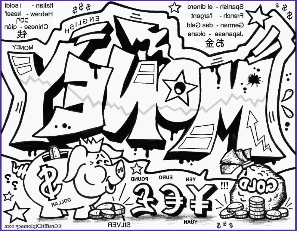 Graffiti Coloring Pages Cool Collection Money Free Coloring Page Letter Progression Exercise