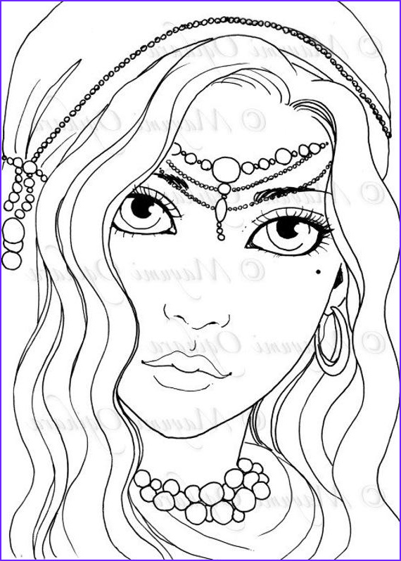 gypsy girl digital stamp colouring page