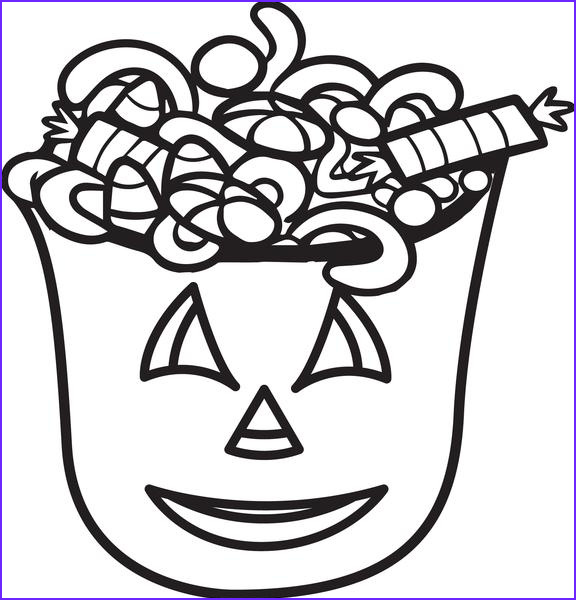 bucket of halloween candy coloring page a4314