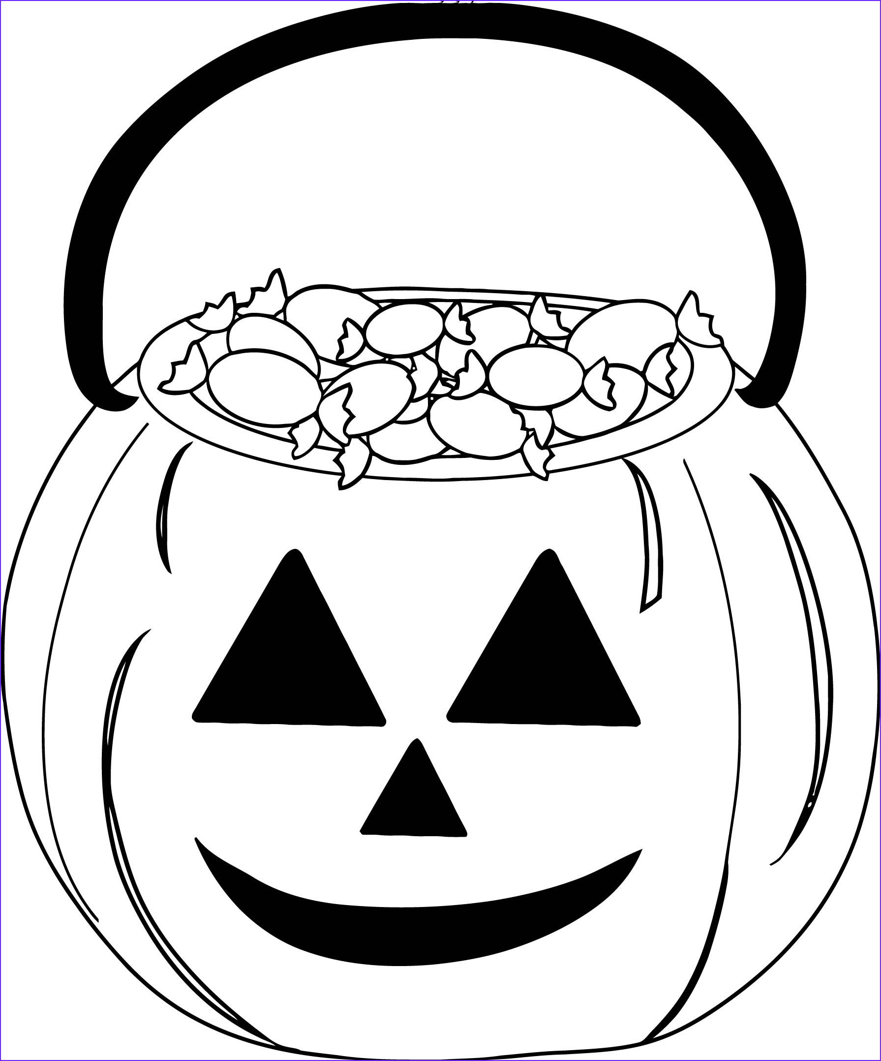 halloween candy pumpkin coloring page