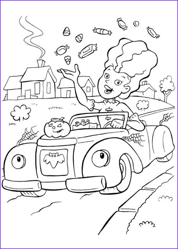 a lady throwing a lot of candy treats on halloween day coloring page