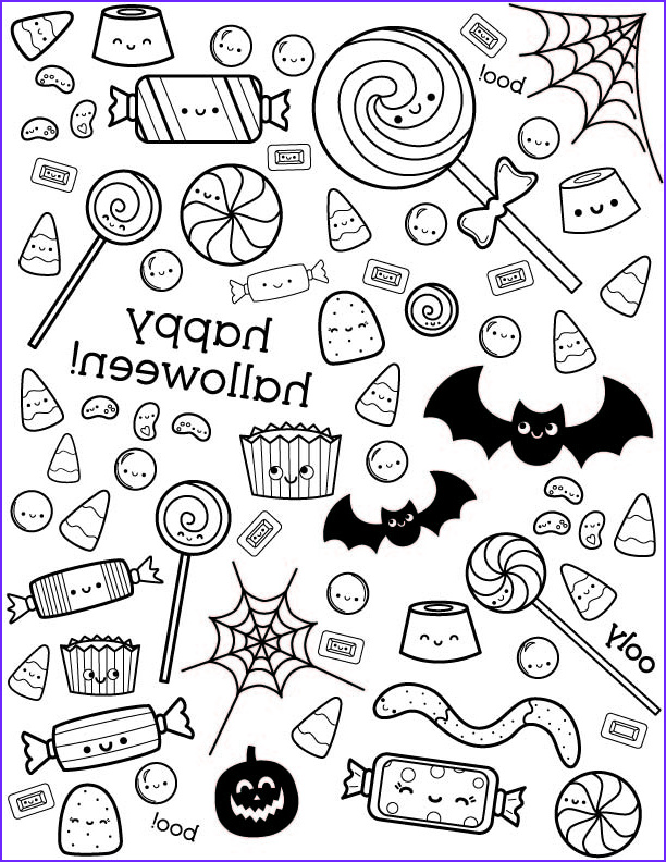 halloween coloring page with cute candy
