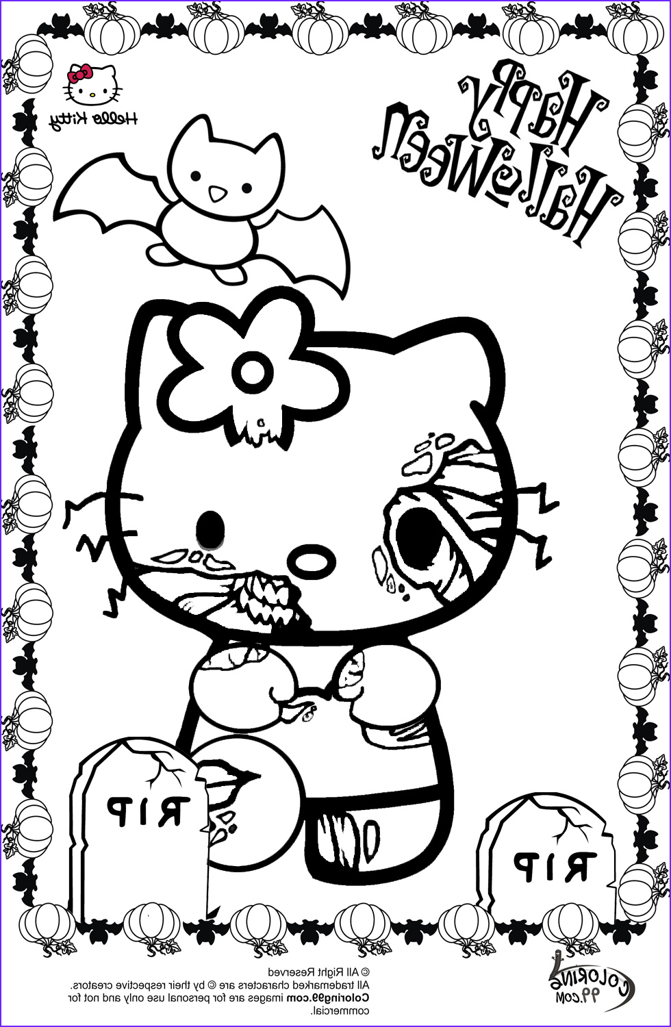Halloween Coloring Beautiful Stock Hello Kitty Halloween Coloring Pages
