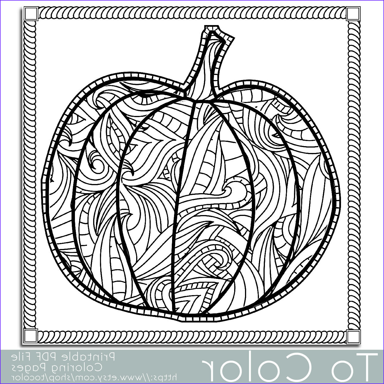 patterned pumpkin coloring page for