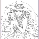 Halloween Coloring Pages For Adults Luxury Image Witch And Cat Coloring Page