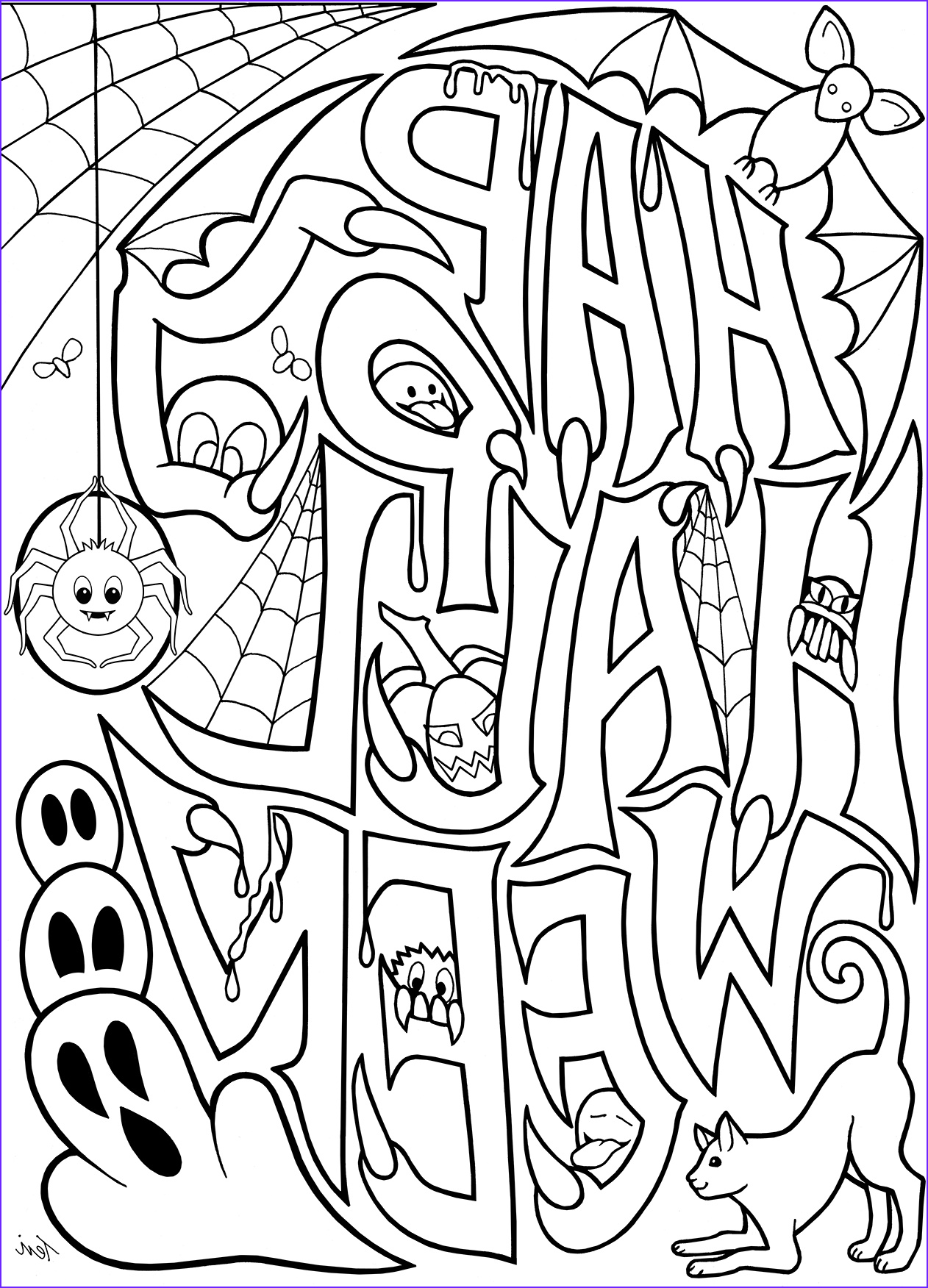 Halloween Coloring Pages to Print Awesome Images Free Adult Coloring Book Pages Happy Halloween by Blue