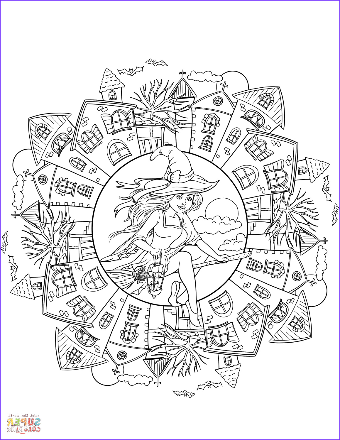 halloween mandala with a witch in the village