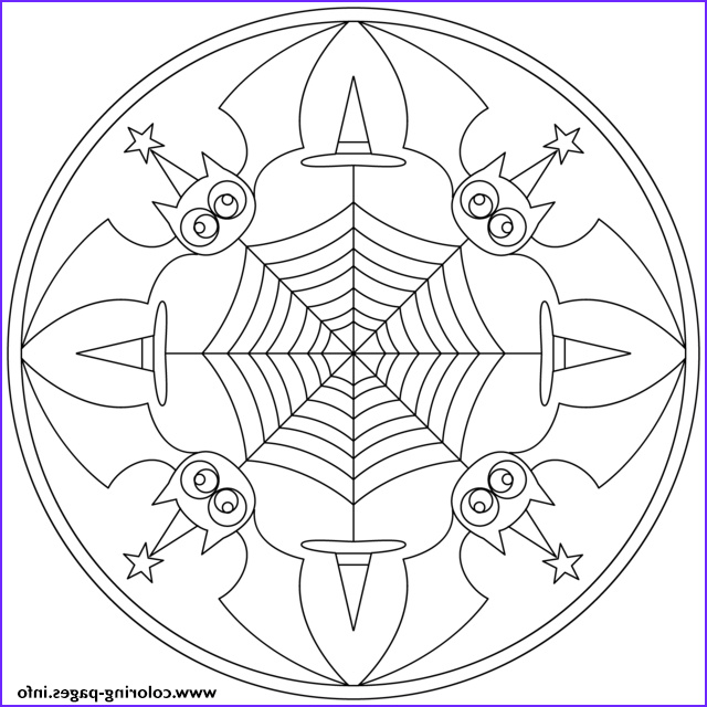 halloween mandala with bats printable coloring pages book