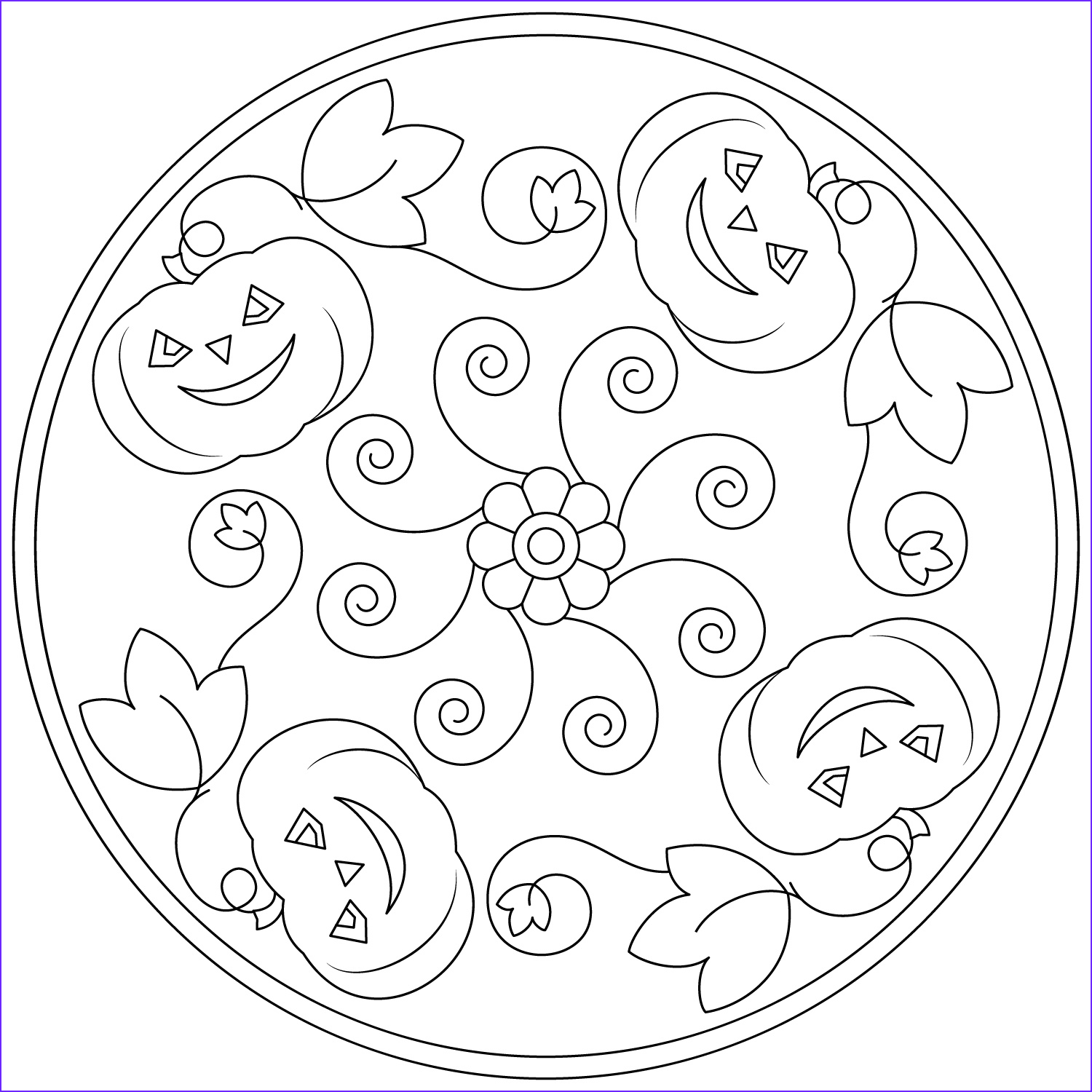 halloween mandala coloring pages for kids 2