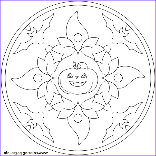 halloween mandala with bats and pumpkin printable coloring pages book