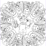 Halloween Mandala Coloring Pages Unique Stock Halloween Mandala With Scarecrow Jack O Lantern And