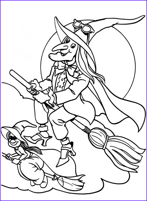 halloween flying witch coloring pages