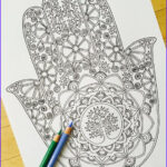 Hand Coloring Beautiful Collection Hand Drawn Adult Coloring Page Print Hamsa Tree Of By