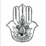Hand Coloring Inspirational Collection Shop Featured Artist Hamsa Outline