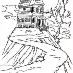 Haunted House Coloring Awesome Photos Halloween Colorings