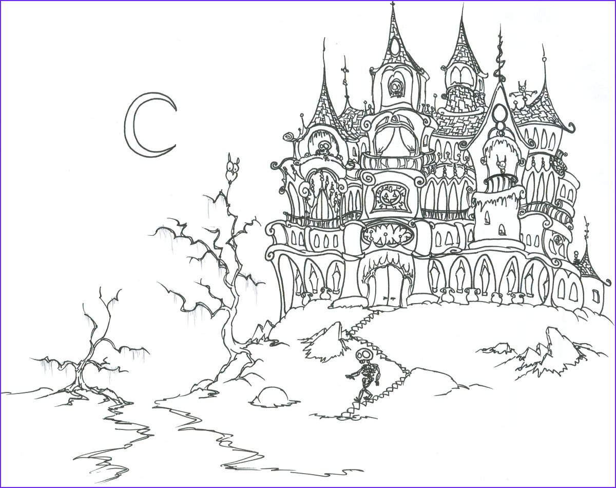 Haunted House Coloring Beautiful Collection Free Printable Haunted House Coloring Pages for Kids