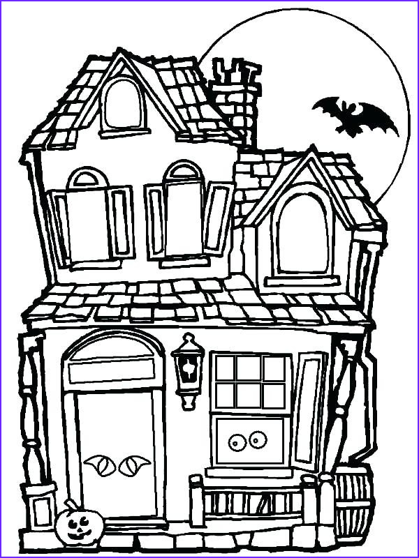 haunted house coloring pages and bat
