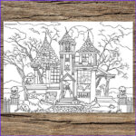Haunted House Coloring Luxury Stock Haunted House Printable Adult Coloring Page From Favoreads