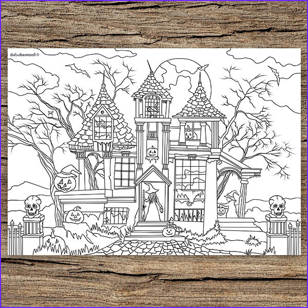 haunted house printable adult coloring