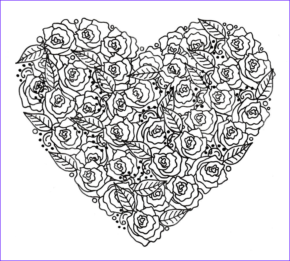Heart Coloring Books Elegant Photos Rose Garden Heart Adult Coloring Page