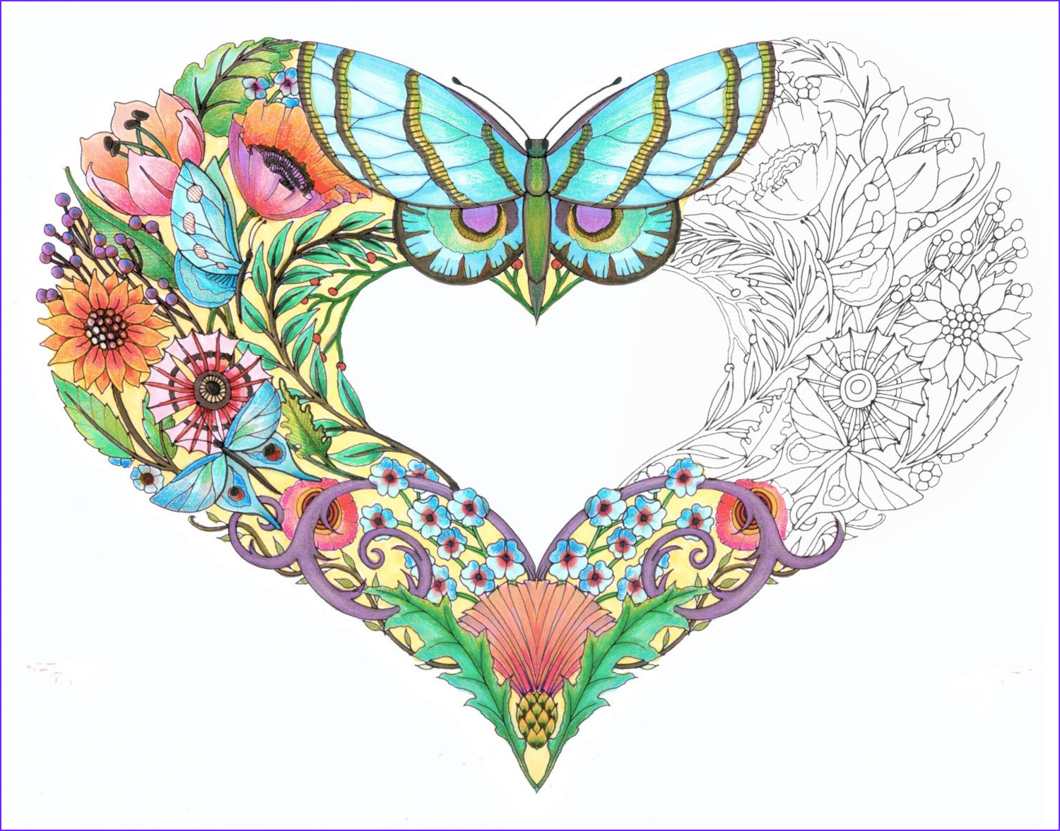 open hearts coloring pages for adults