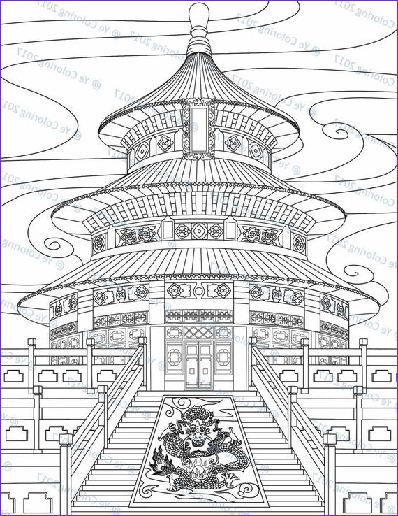 temple of heaven coloring page printable