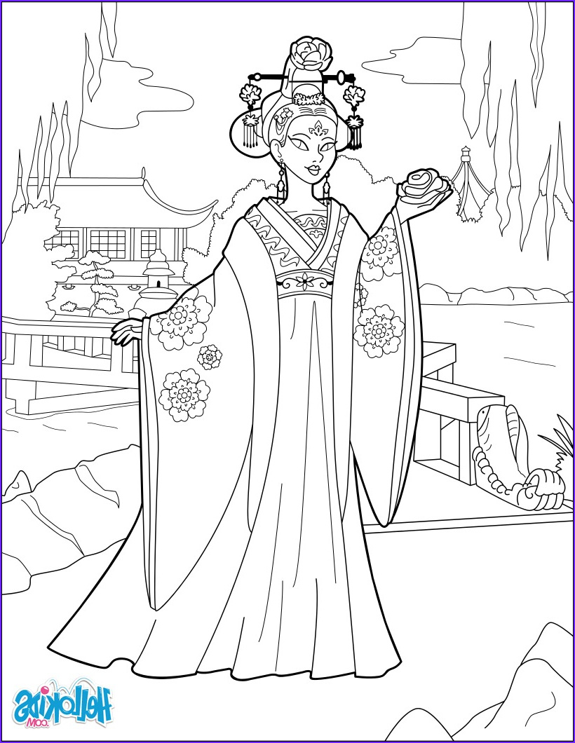 Hello Kids Coloring Pages Beautiful Stock Chinese Princess Coloring Pages Hellokids